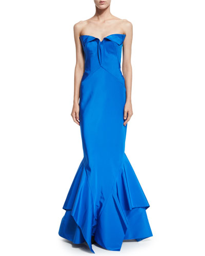 Strapless Sweetheart-Neck Trumpet Gown, Brilliant Blue