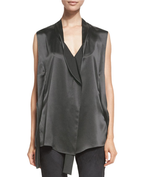 Deconstructed-Placket Sleeveless Vest, Graphite