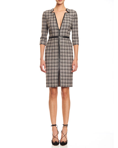 Carolina Herrera Leather-Trim V-Neck Plaid Dress, Black/Pink/Gray