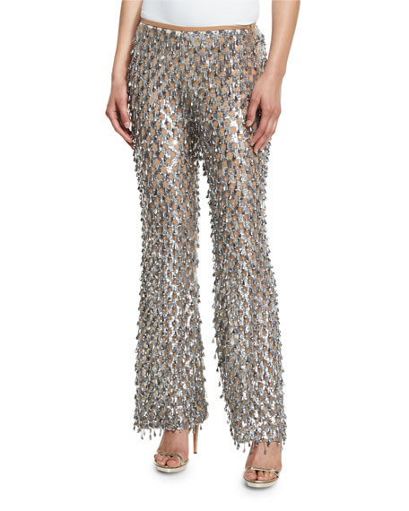 Dangling Metallic Flare-Leg Pants, Silver/Suntan