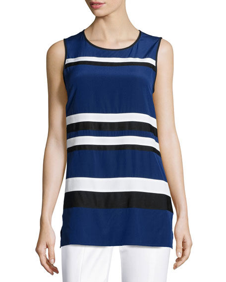 St. John Collection Striped Crepe de Chine Sleeveless