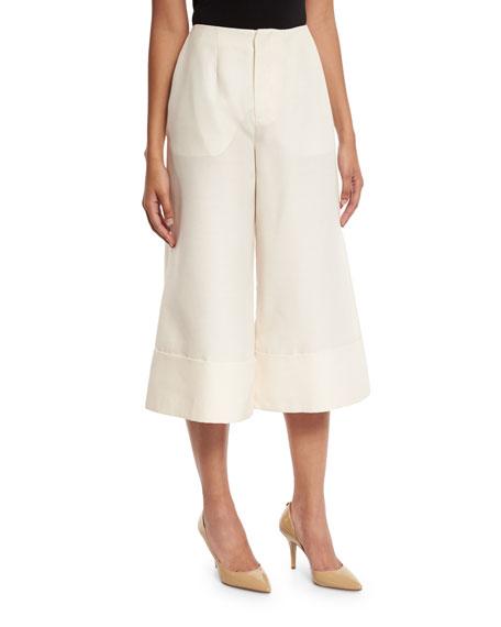 Co Large-Cuff Culotte Pants, Ivory