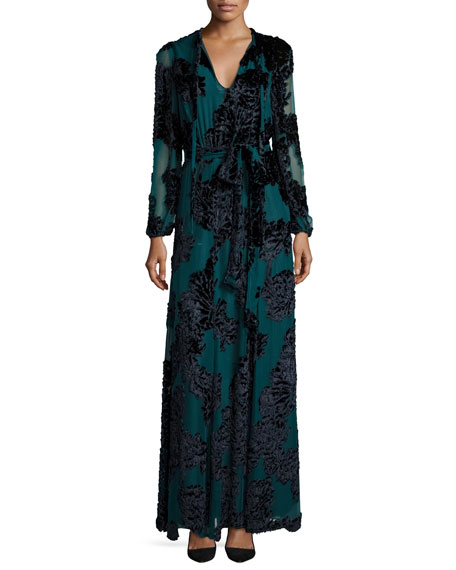 Co Tie-Neck Long-Sleeve Velvet Gown, Teal