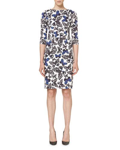 Butterfly-Print Half-Sleeve Dress, Black/White