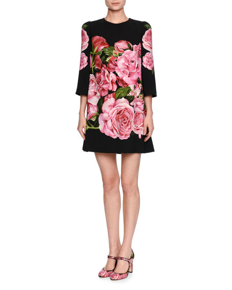 Rose-Print 3/4-Sleeve Shift Dress, Black/Pink