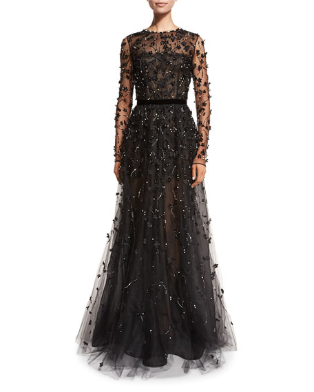 Long-Sleeve Illusion Lace Taffeta Gown, Black