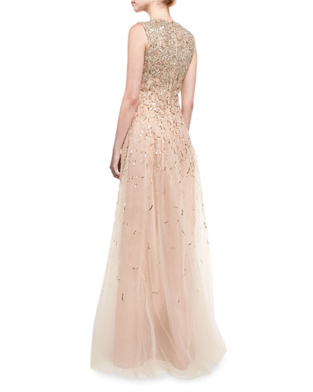 Embellished Sleeveless A-Line Gown, Gold