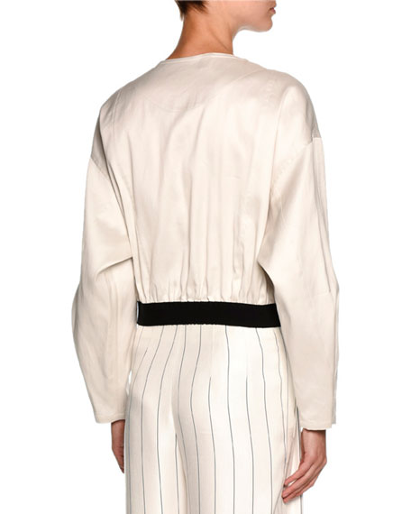 Image 2 of 2: Giorgio Armani Contrast-Trim Zip Bomber Jacket, Off White