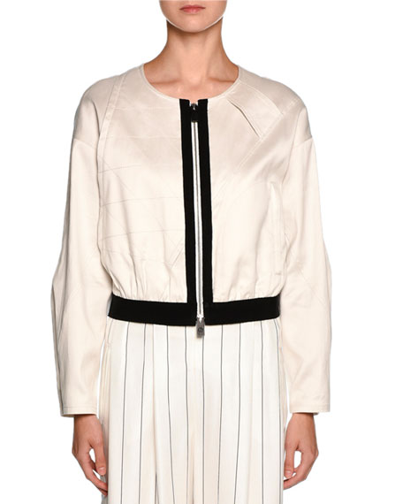 Image 1 of 2: Giorgio Armani Contrast-Trim Zip Bomber Jacket, Off White