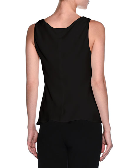 Silk Charmeuse Scoop-Neck Shell, Black