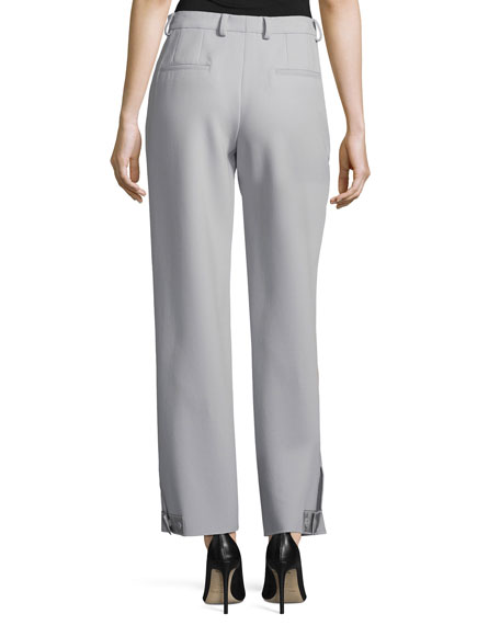 Pleat-Front Straight-Leg Pants