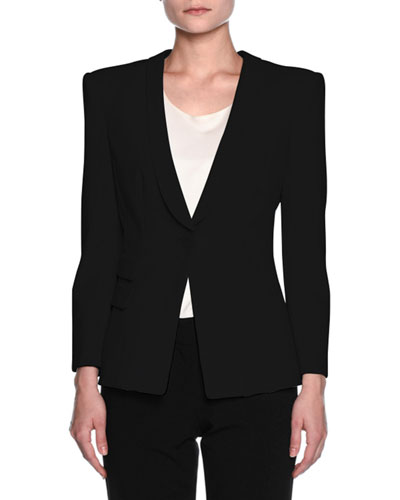 Double-Pocket One-Button Jacket, Black