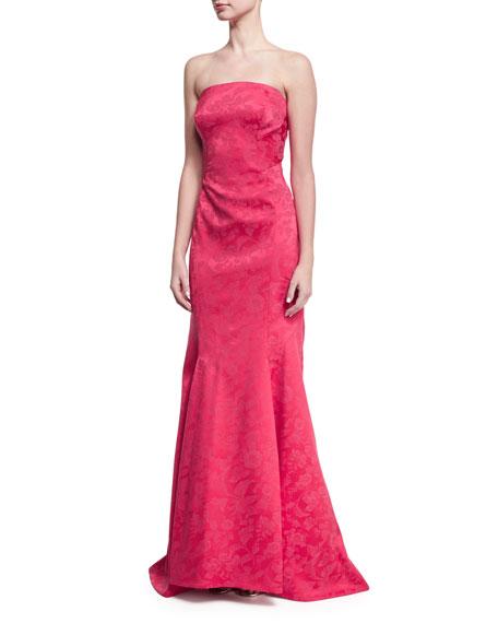 Strapless Tonal Jacquard Gown