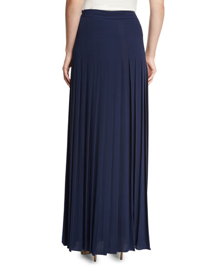 Pleated Front-Slit Maxi Skirt, Maritime