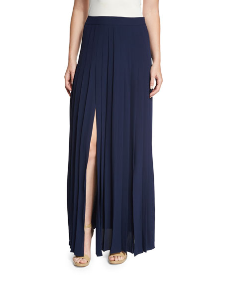 Michael Kors Collection Pleated Front-Slit Maxi Skirt, Maritime