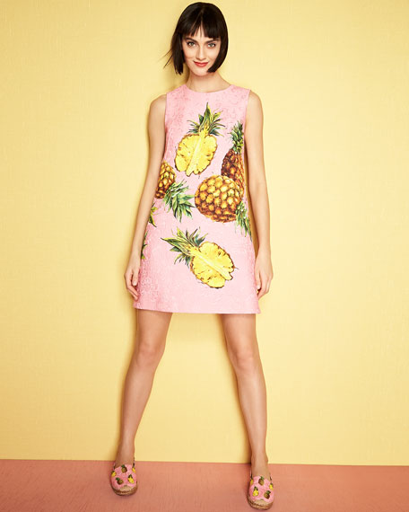 Pineapple-Print Sleeveless Shift Dress, Bright Pink/Yellow