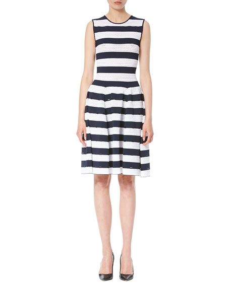 Nautical-Stripe Sleeveless Dress, Navy/White