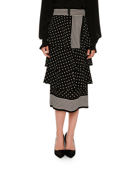 Tiered Polka-Dot Midi Skirt, Black