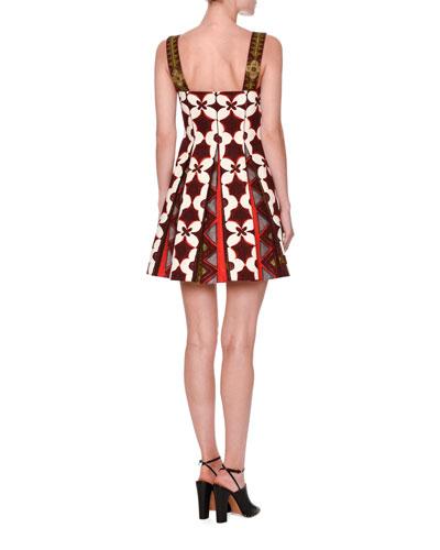 VALENTINO Cottons CUBAN-FLOWER PLEATED SLEEVELESS DRESS, MULTI