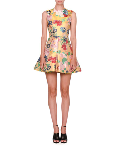 Romantic Brocade Sleeveless Fit-&-Flare Dress, Yellow/Multi