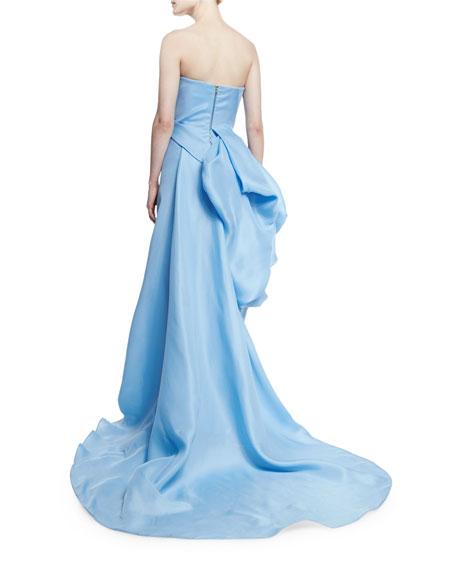 Gazaar Strapless Side-Bustle Gown, Sky Blue