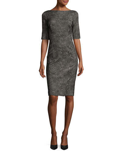 Swirl-Jacquard Half-Sleeve Sheath Dress, Black