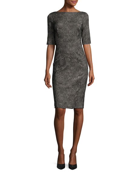 Swirl-Jacquard Half-Sleeve Sheath Dress, Black