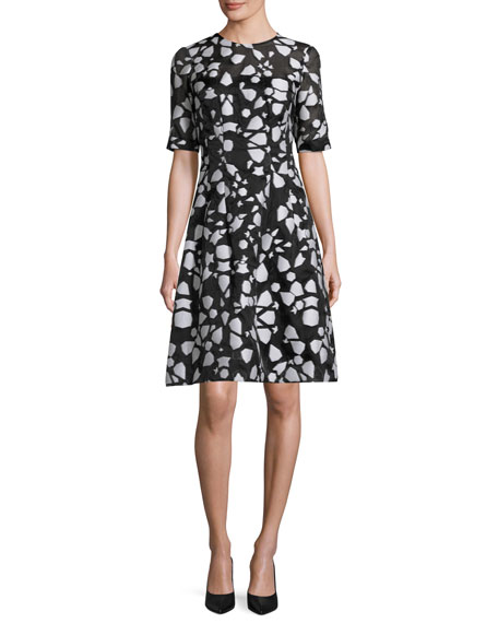 Lela Rose Fil Coupe Half-Sleeve A-Line Dress, Ivory/Black