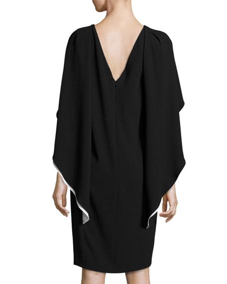 Two-Tone Capelet Shift Dress, Black