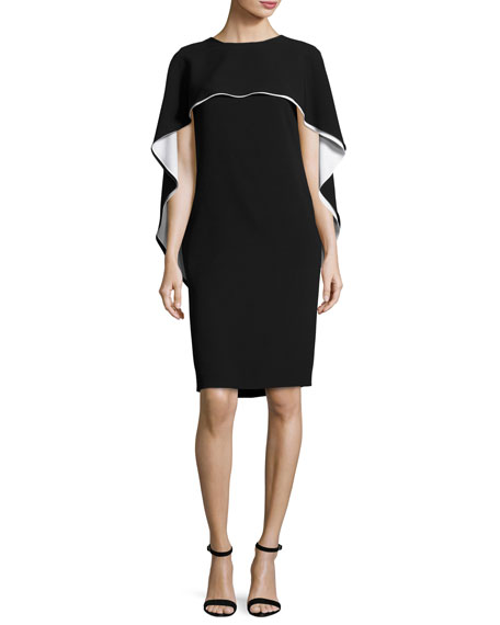 Two-Tone Capelet Shift Dress, Black