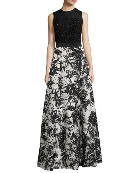 Escada Beaded Floral-Skirt Sleeveless Gown, Fantasy