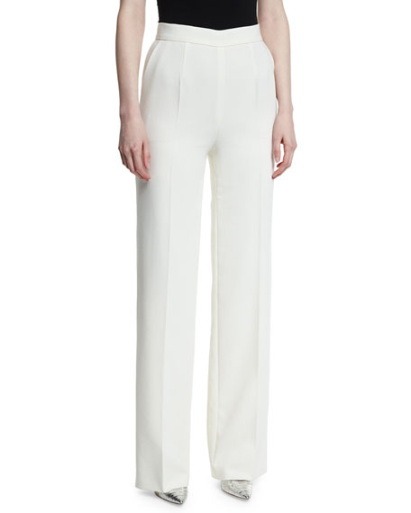 Escada Tiketanatu High-Waist Wide-Leg Pants, Off White