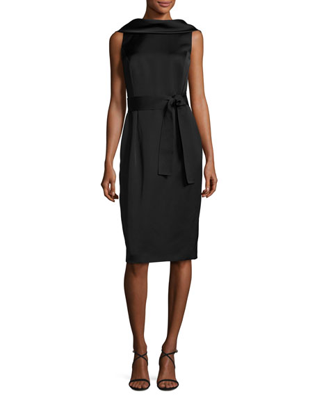 Escada Eve Sleeveless Scoop-Back Dress, Black