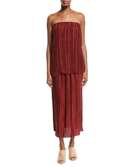 Juri Pleated Silk Midi Skirt, Dark Red