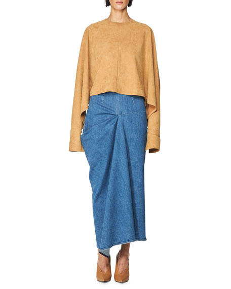 High-Waist Draped Denim Maxi Skirt, Blue