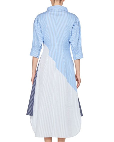 Striped 3/4-Sleeve Shirtdress, Blue/White