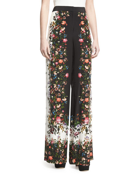 Wide-Leg Floral-Print Silk Pants, White/Black