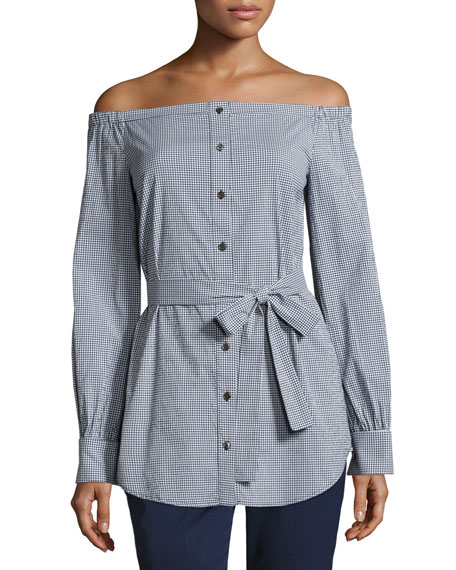 Michael Kors Collection Gingham Off-the-Shoulder Belted Tunic