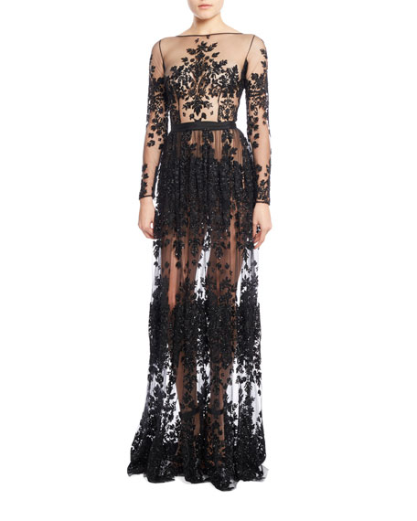 Long-Sleeve Beaded-Embroidery Gown with Pleated Skirt, Jet
