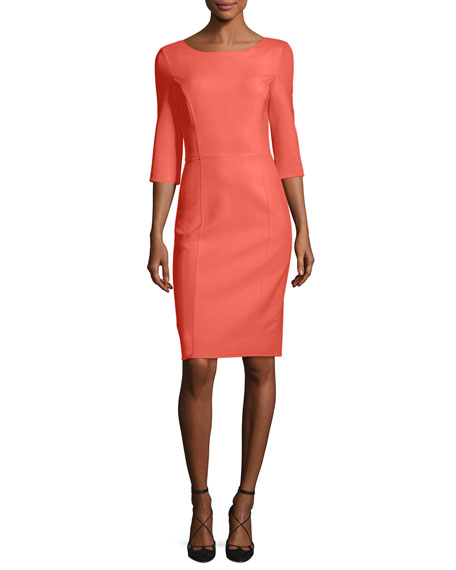 Carolina Herrera 3/4-Sleeve Sheath Dress, Pink