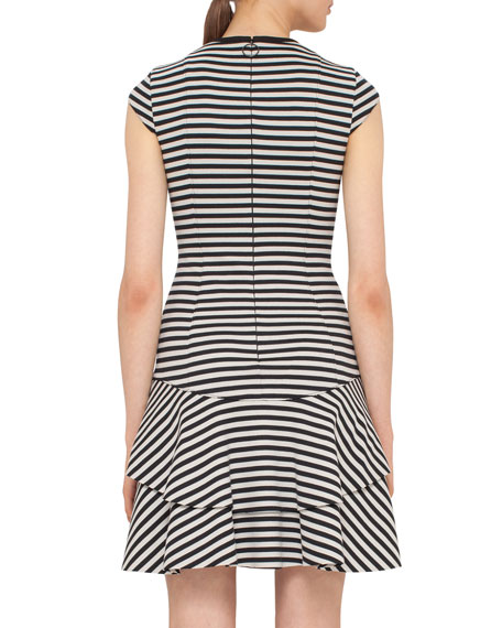 Striped Cap-Sleeve Flounce Dress
