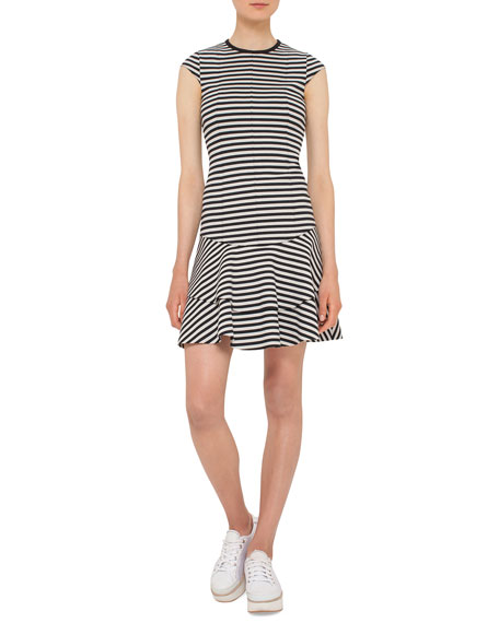 Akris punto Striped Cap-Sleeve Flounce Dress