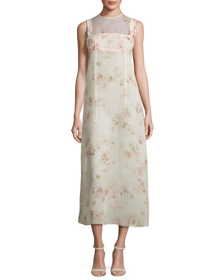 Calvin Klein Collection Sleeveless Floral A-Line Dress, Light
