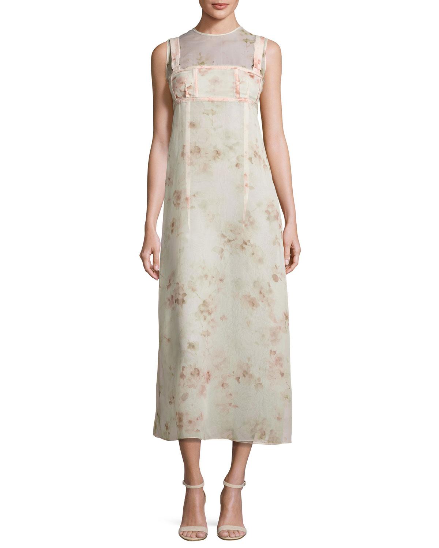 Calvin Klein Collection Sleeveless Floral A-Line Dress, Light Pink ...