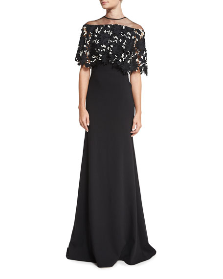 Lela Rose Floral Lace Capelet Gown, Black/Ivory