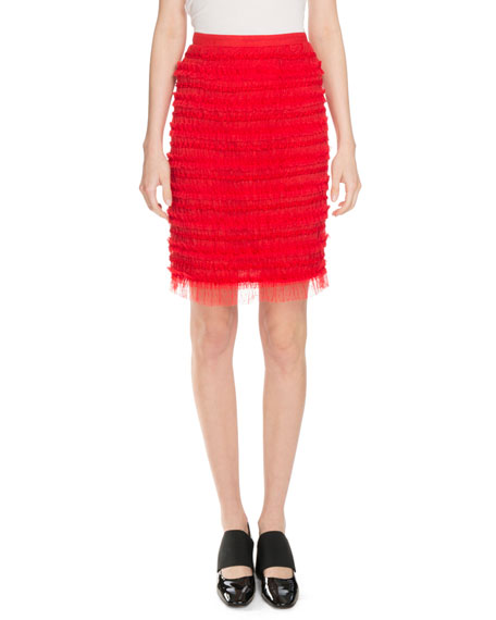 Givenchy Striped Tulle Skirt, Red
