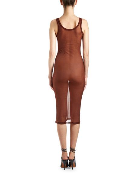 Sheer Scoop-Neck Slip Dress
