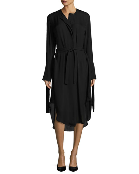 Calvin Klein Collection Belted Fluid Long-Sleeve Shirtdress,