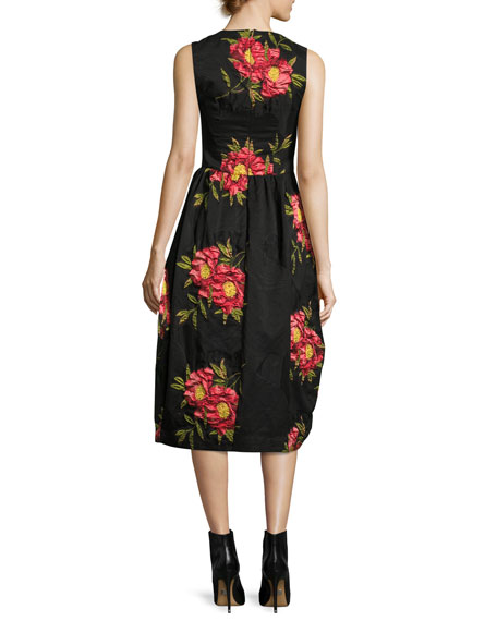 Floral Sleeveless Knot-Skirt Dress, Black/Red