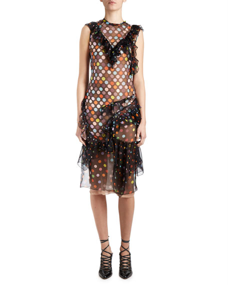 Givenchy Vintage-Dot Ruffled Sleeveless Dress, Black/Multi